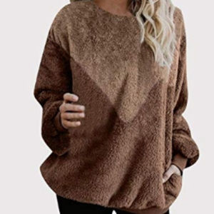 Sweaters - Patchwork Pullover Loose Sweatshirt  Hoodies